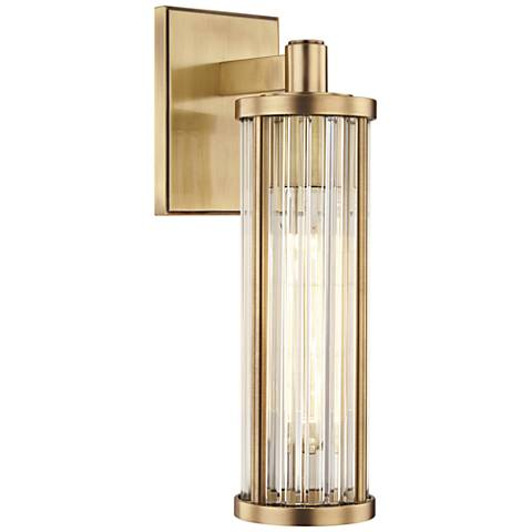 "Hudson Valley Marley 14 1/4"" High Aged Brass Wall Sconce"