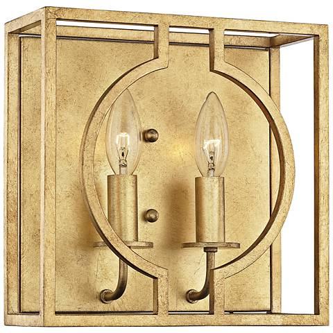 "Hudson Valley Octavio 10"" High Gold Leaf 2-Light Wall Sconce"