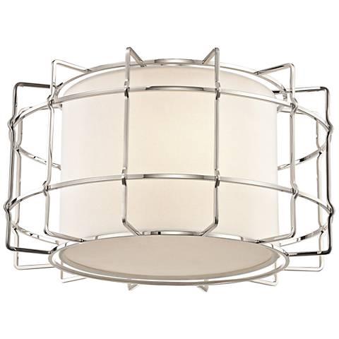 "Sovereign 16"" Wide Polished Nickel LED Ceiling Light"
