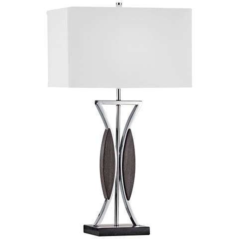 Nova Clessidra Chrome and Zebra Wood Table Lamp