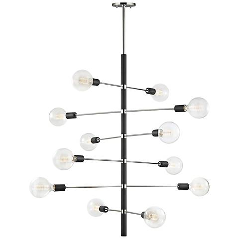 "Astrid 36""W Polished Nickel and Black 12-Light Chandelier"