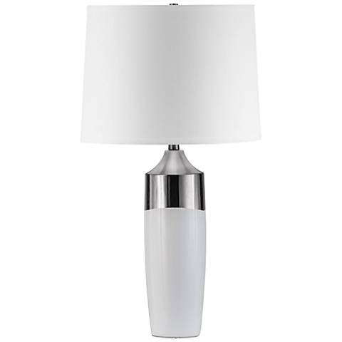 Nova Splash Waxy White and Silver Ceramic Table Lamp