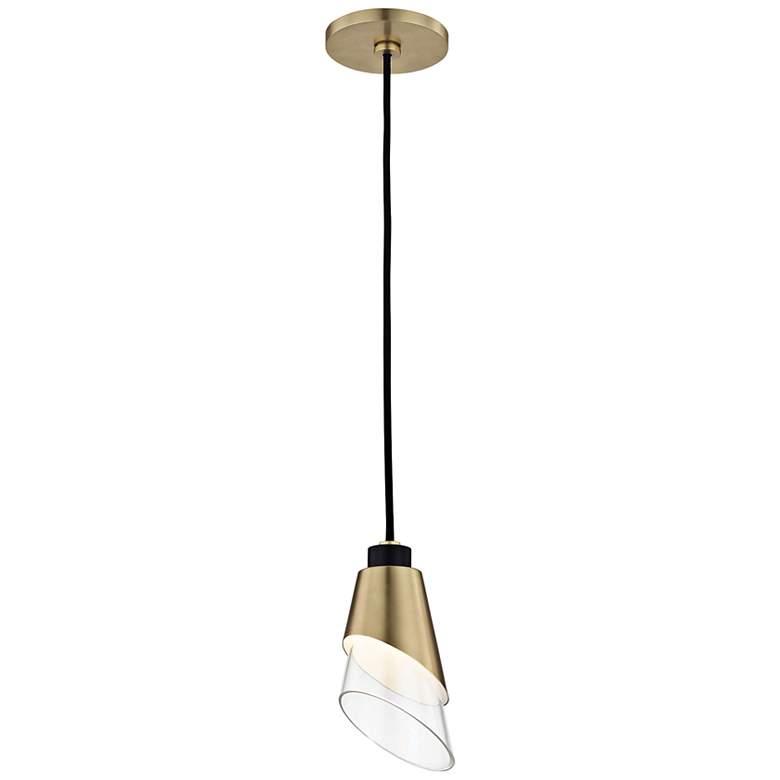 """Mitzi Angie 4 3/4"""" Wide Aged Brass LED Mini Pendant"""