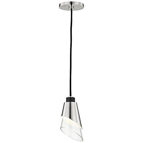 """Mitzi Angie 4 3/4"""" Wide Polished Nickel LED Mini Pendant"""