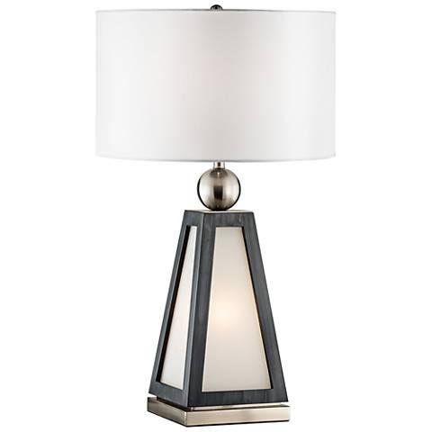 Nova Paris Charcoal Gray Table Lamp with Night Light