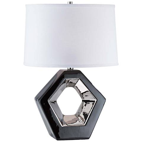 Nova Zone Gloss Black Ceramic Reclining Accent Table Lamp