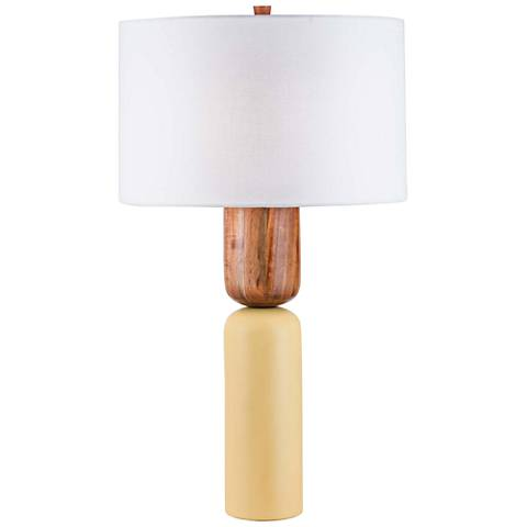 Nova Totem Caribbean Walnut And Apricot Yellow Table Lamp 45k93