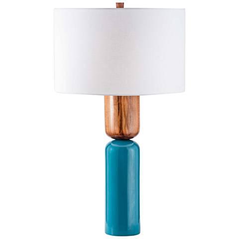 Nova Totem Caribbean Walnut and Sky Blue Table Lamp