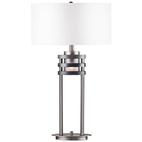 Nova Kobe Charcoal Gray Table Lamp with Night Light