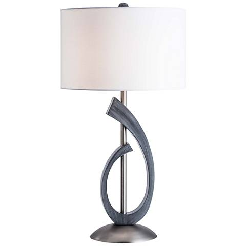 Nova Bass Clef Charcoal Gray and Antique Nickel Table Lamp