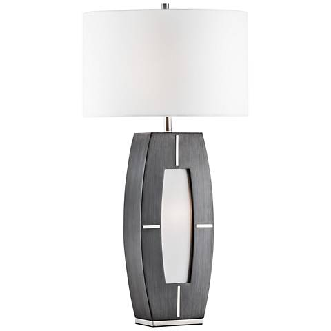 Nova Delacy Charcoal Gray Wood Table Lamp with Night Light