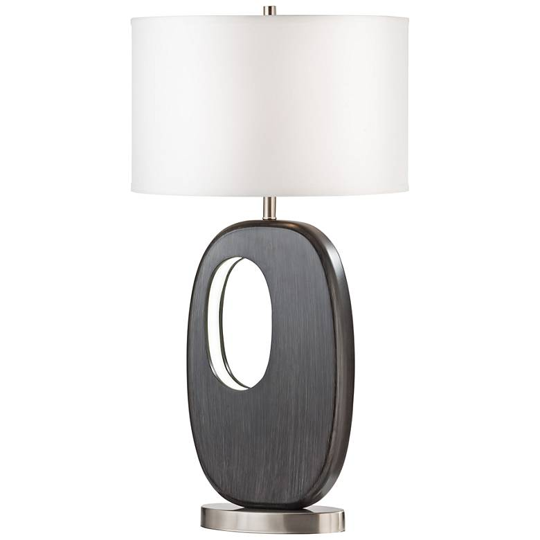 Offset Charcoal Gray Standing Table Lamp w/ LED Night Light