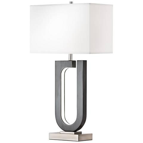 Nova Horseshoe Charcoal Gray Table Lamp w/ LED Night Light