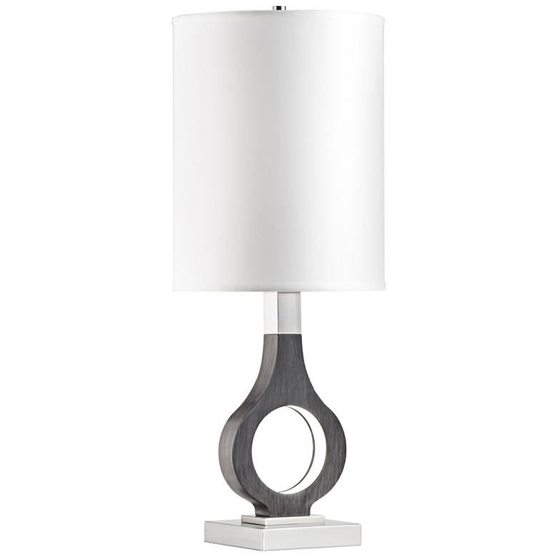 Nova Keyhole Charcoal Gray Table Lamp with LED Night Light