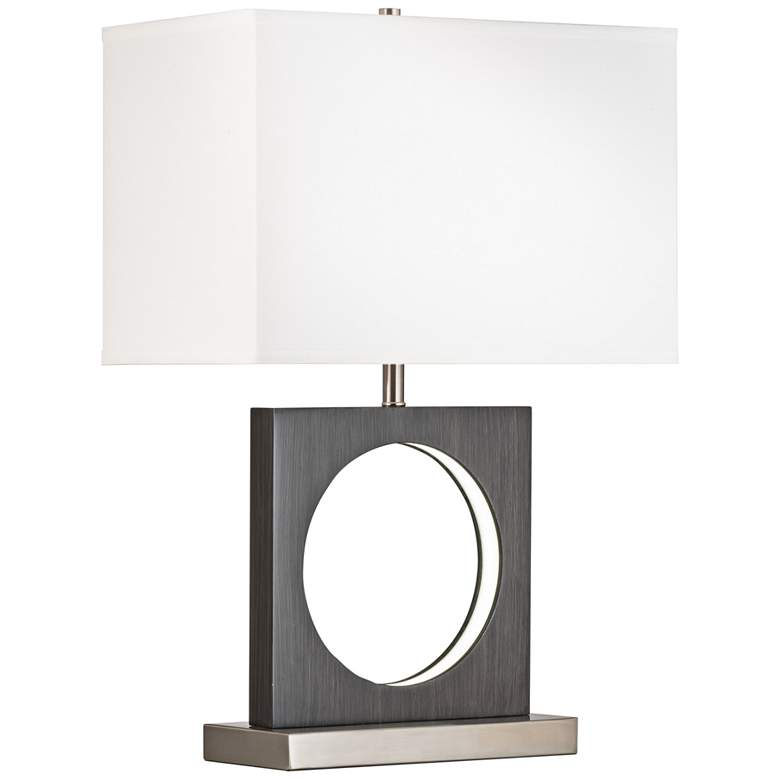 Nova Cutter Charcoal Gray Table Lamp with LED Night Light
