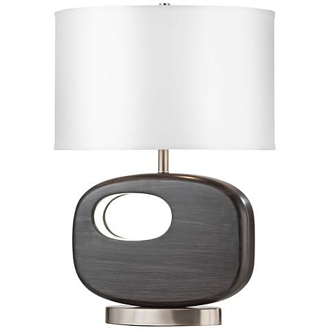 Offset Gray Reclining Accent Table Lamp w/ LED Night Light