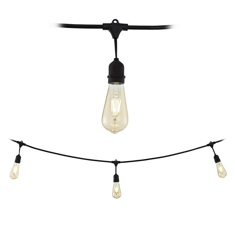 Adapt Series Commercial 24-Light Black String Light Set