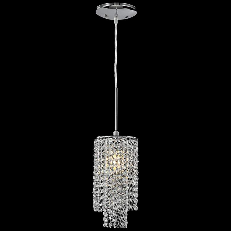 """James R. Moder 6"""" Wide Silver and Imperial Crystal Mini Pendant Light"""