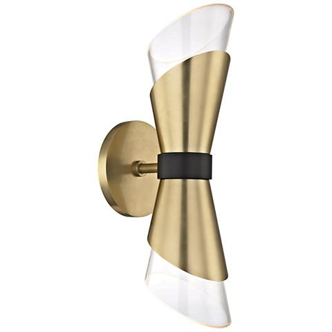 "Mitzi Angie 15"" High Aged Brass 2-Light LED Wall Sconce"