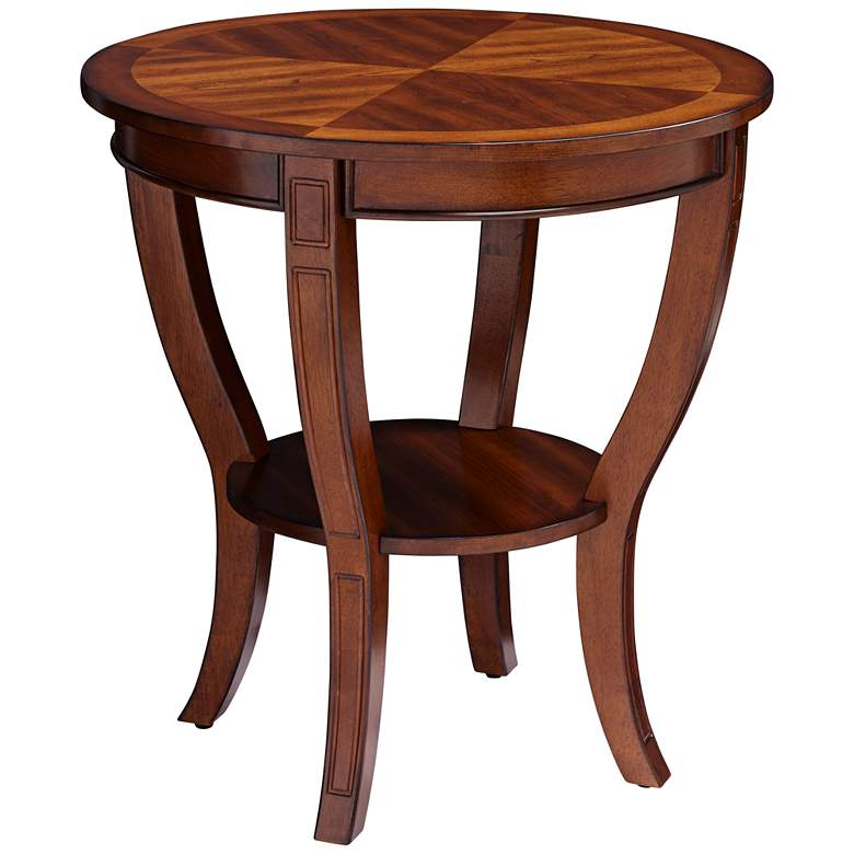 """Patterson II Americana 26"""" Wide Cherry Wood Round End Table"""