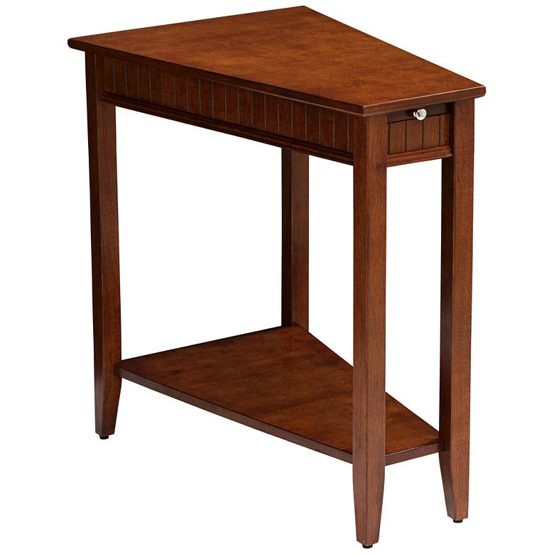 "Bentley-II 16"" Wide Cherry Wood Wedge Accent Table"