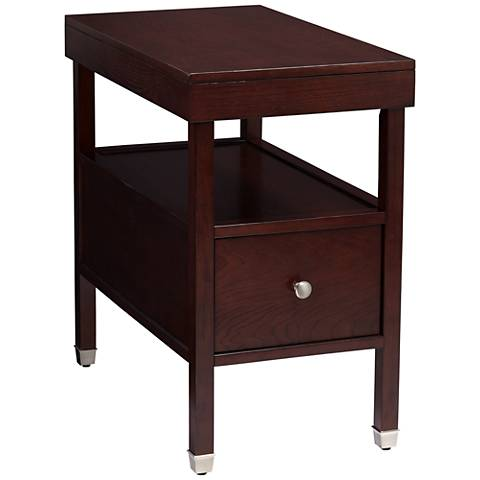 Huntley Espresso Narrow Chairside 1-Drawer Accent Table