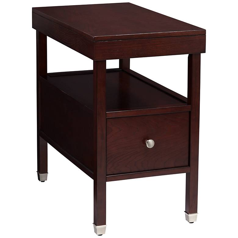 """Huntley Espresso 15 1/4"""" Wide Narrow Chairside Accent Table"""