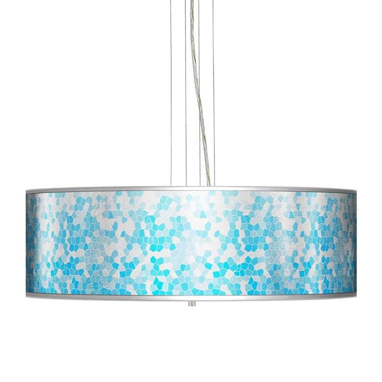 "Mosaic Silver Metallic Giclee 24"" Wide 4-Light Pendant"