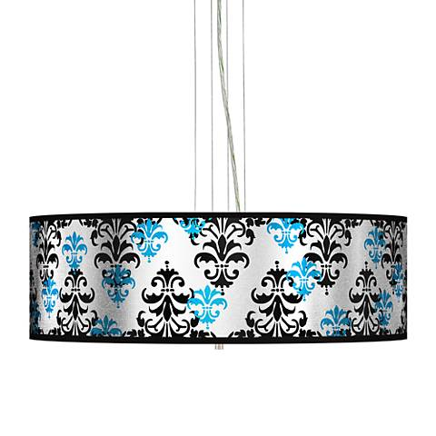 "Damask Shadow Silver Metallic 24"" W Pendant Chandelier"