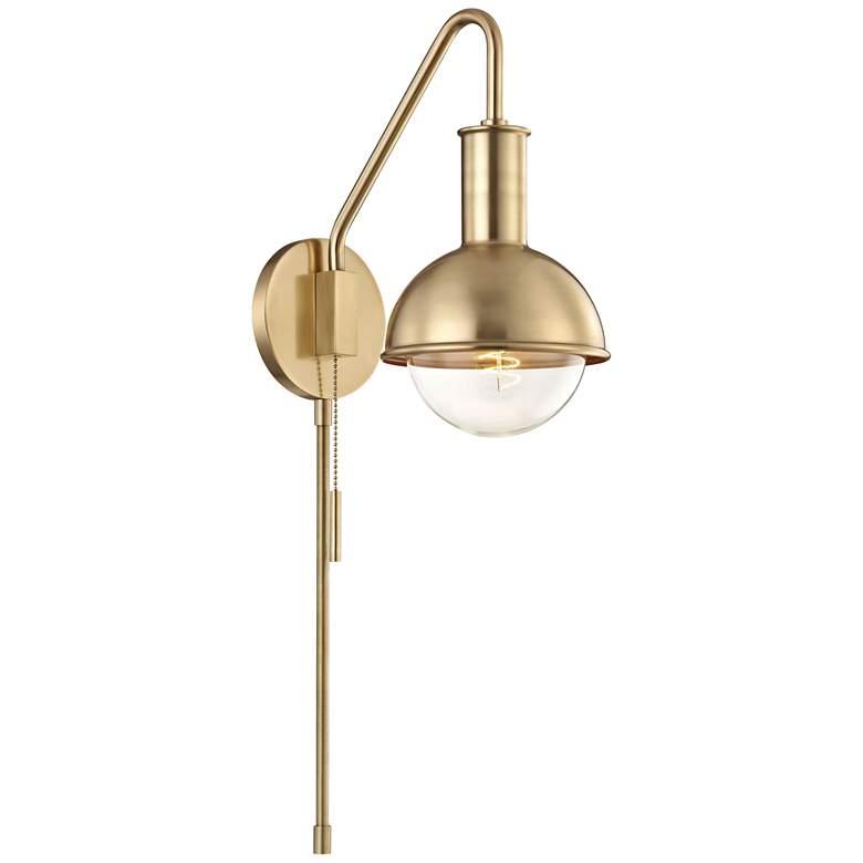 Hudson Valley Mitzi Riley Aged Brass Swing Arm Wall Lamp