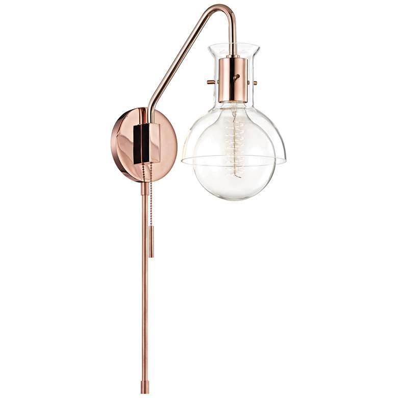Mitzi Riley Polished Copper Clear Glass Swing Arm Wall Lamp