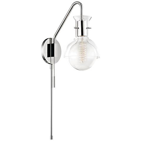 Mitzi Riley Polished Nickel Clear Glass Swing Arm Wall Lamp