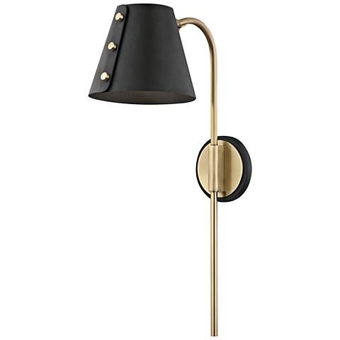 Mitzi Meta Aged Brass and Black LED Swing Arm Wall Lamp