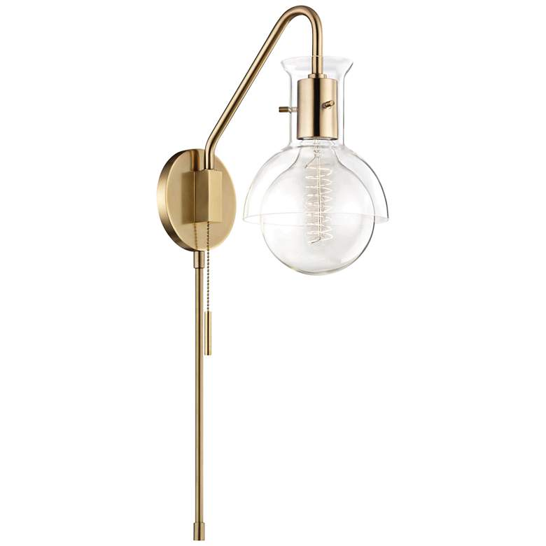 Mitzi Riley Aged Brass and Clear Glass Swing Arm Wall Lamp