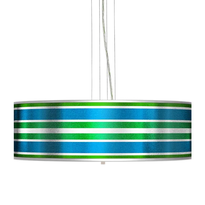 Multi Color Stripes Silver Metallic 4-Light Pendant Chandelier