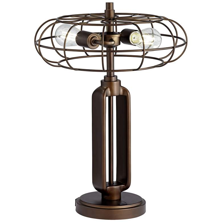 Gustav Farmhouse Style Cage Table Lamp with USB Port