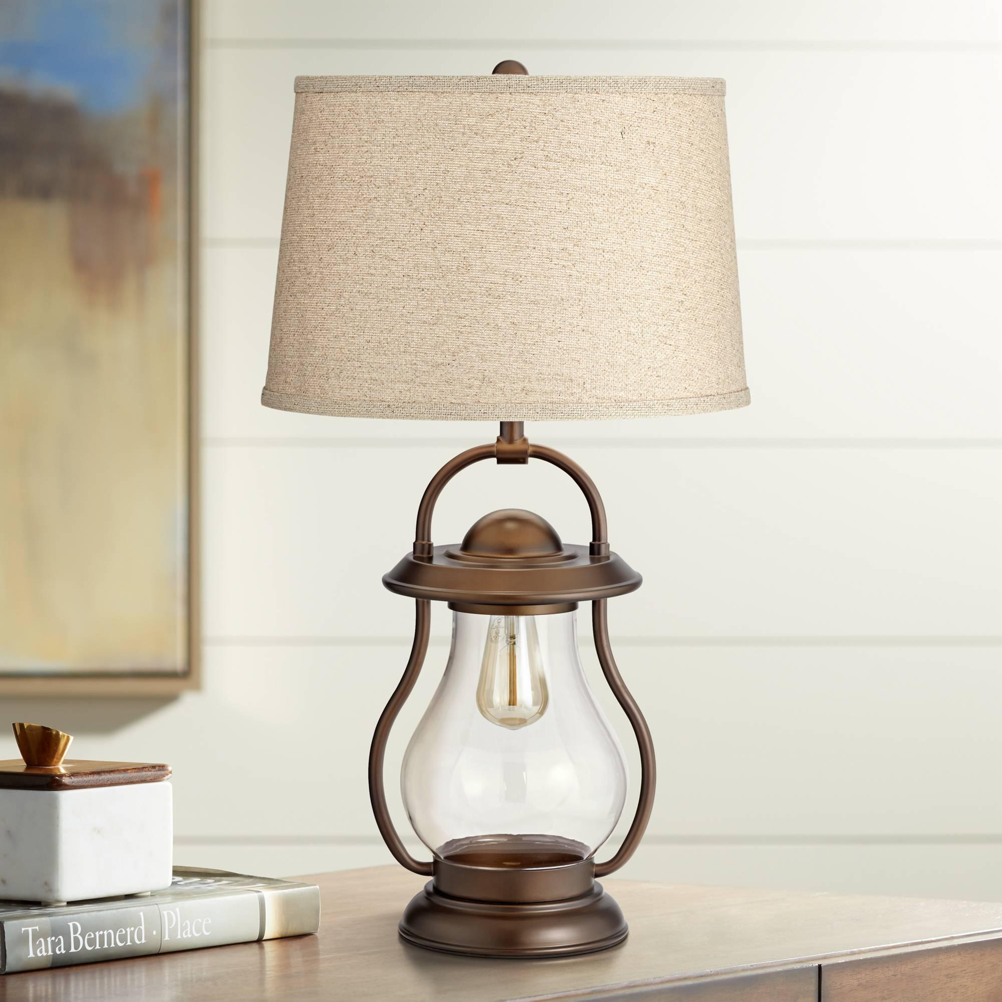 Industrial Farmhouse Table Lamp With Nightlight Led Bronze Lantern