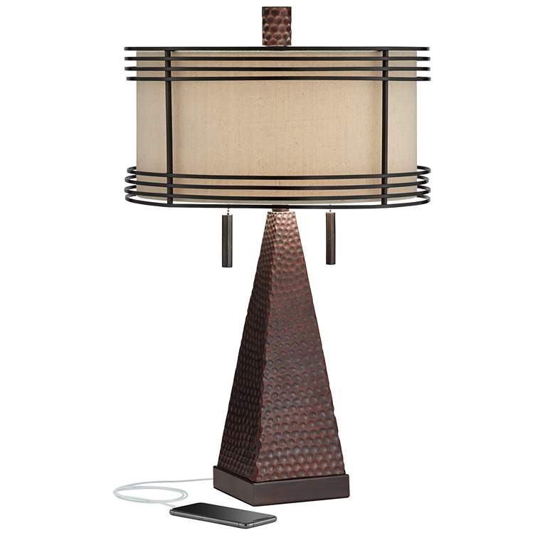 Niklas Industrial Bronze Table Lamp with USB Port