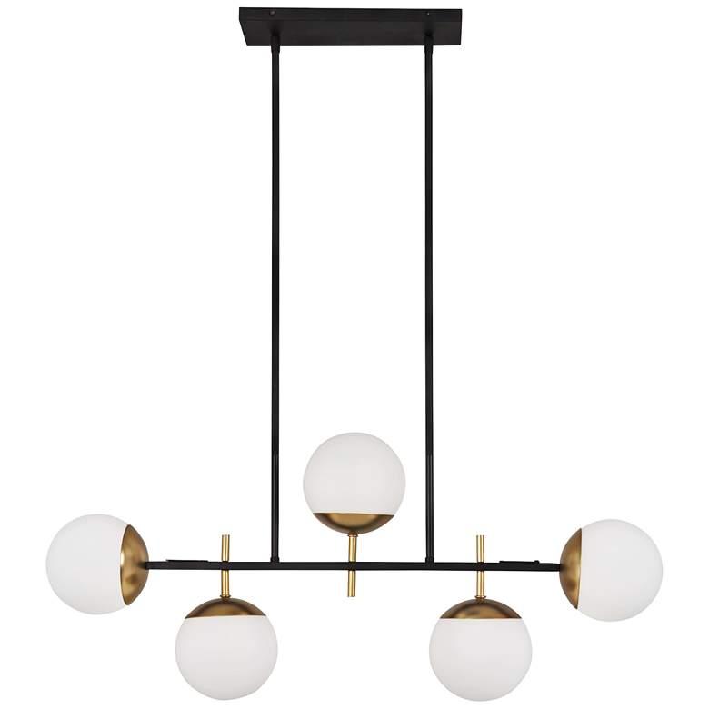 "Alluria 36"" Wide Black and Gold Kitchen Island Light Pendant"