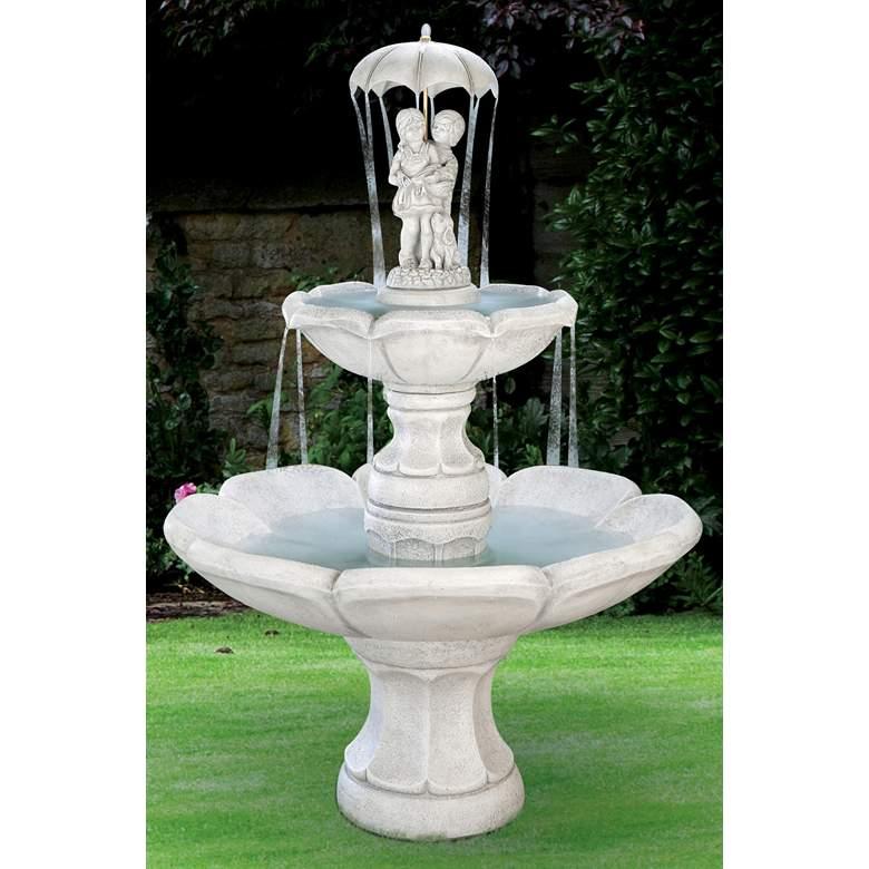 "Henri Studio April Showers 73""H Pompeii Ash Outdoor Fountain"