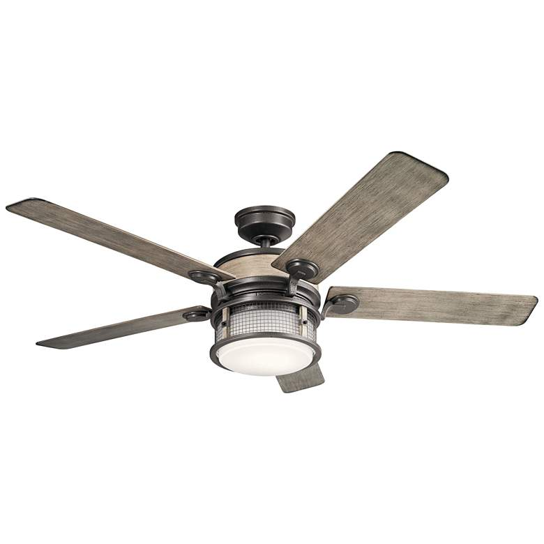 """60"""" Kichler Ahrendale Anvil Iron LED Outdoor Ceiling Fan"""