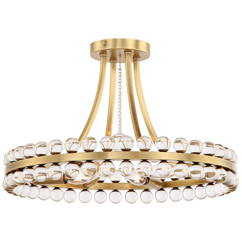 "Crystorama Clover 18"" Wide Aged Brass Ceiling Light"
