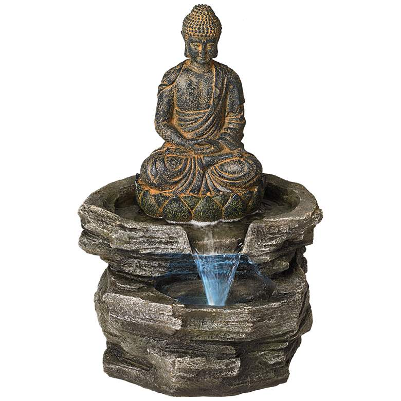 Sitting Buddha 21 Quot High Led Water Fountain 46100
