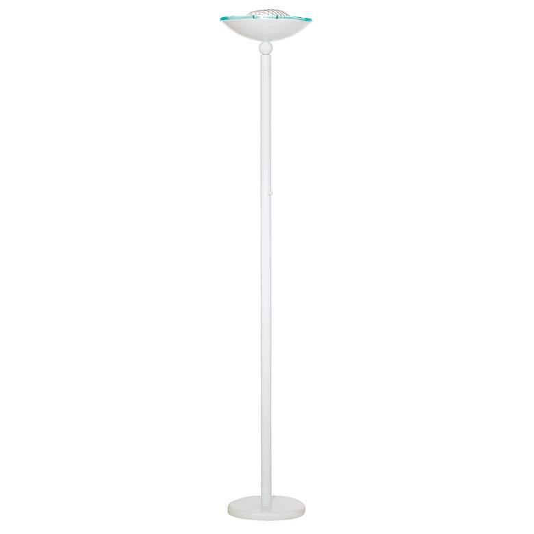 Crockett White Halogen 150 Watt Torchiere Floor Lamp