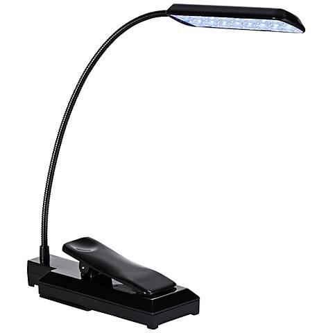 Black LED Battery Powered Clip-On Gooseneck Book Light