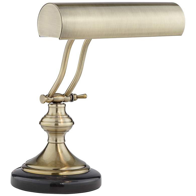 Antique Brass With Marble Piano Desk Lamp by