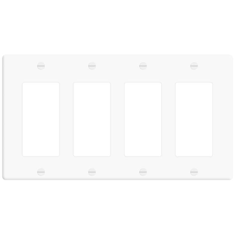 Leviton Decora White 4-Gang Wall Plate