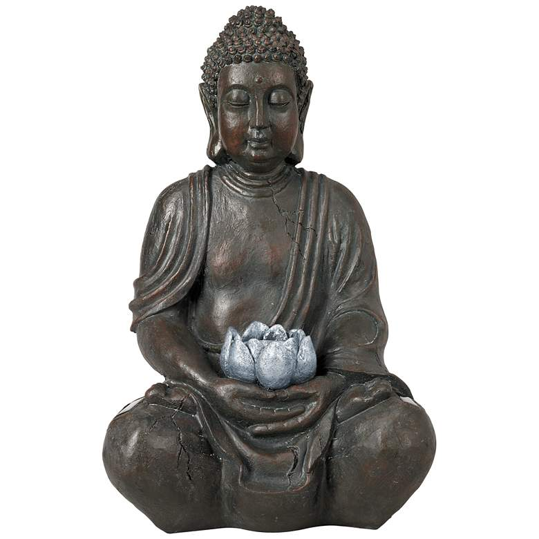 """Sitting Buddha 19 1/2"""" High Sculpture with Solar Powered LED"""
