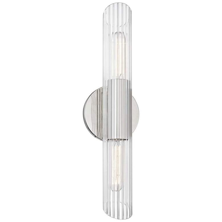"""Mitzi Cecily 17"""" High Polished Nickel 2-Light Wall Sconce"""