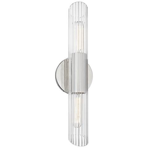 "Mitzi Cecily 17"" High Polished Nickel 2-Light Wall Sconce"